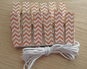 Orange Chevron Clips w Twine for Photo Display - Chunky Little Clothespin Set of 12