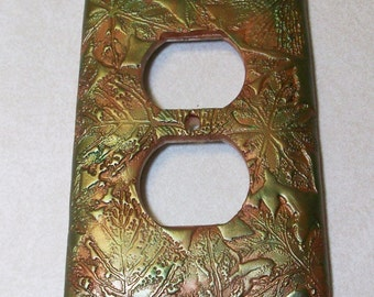 Outlet cover Collage of leaves in copper and metallic green, single toggle light switch cover