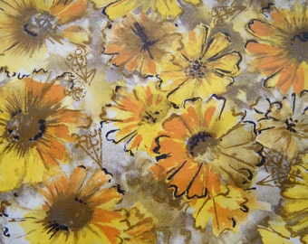 vintage cotton flower fabric, chintz, polished cotton yellow, metallic gold, orange