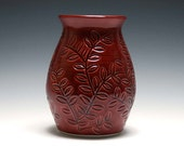 Red Vase, Red Ceramic Vase, Handmade Pottery, Rhubarb Red Glaze, Branch and Leaf Design