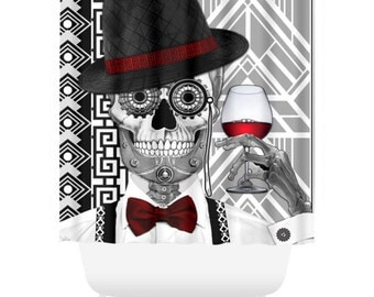 Black and White Sugar Skull Shower Curtain - Art Deco Skull Bath Curtain - Dia De Los Muertos Bathroom Decor - Mr JD Vanderbone
