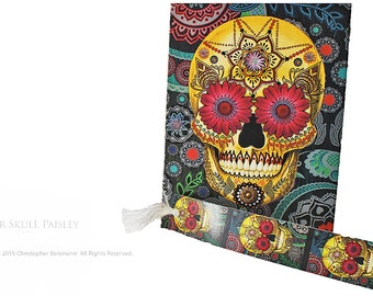 Colorful Paisley Sugar Skull Journal - Made From Recycled Paper by Christopher Beikmann