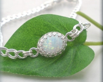 Opal Bracelet October Birthstone Sterling Silver Chain Cabochon White Opal Jewelry Bridal Bridesmaid (SB653)