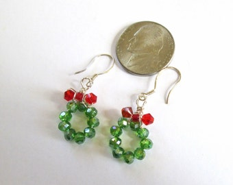 Tiny Christmas Wreath Earrings