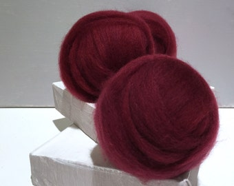 Sangria Red wool roving, Needle Felting wool, Spinning fiber, dark red roving, hand dyed, free samples, Dark red, blue red, cherry, wine red