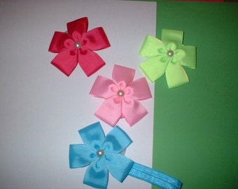 3  inch  Hair Bows on Headbands In  colors (71)  total of 4