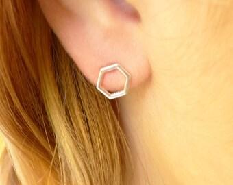 Hexagon Stud Earrings Honeycomb Earings Honey Combs Bee Jewelry Geometric Minimalist Designs