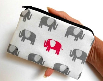 Zipper Pouch Little Padded Coin Purse ECO Friendly Elephant Walk NEW