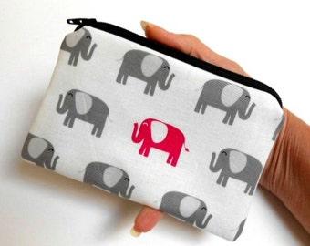 Zipper Coin Purse Zipper Pouch Little Padded Coin Purse ECO Friendly Elephant Walk NEW