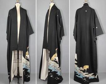tomesode / vintage kimono / silk robe / WIND CRANE embroidered kimono