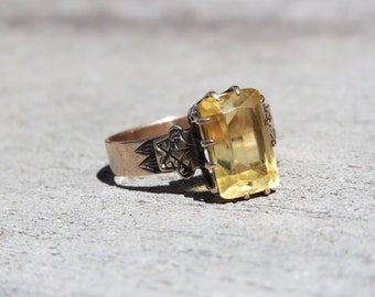 Victorian Rose Gold and Citrine Ring