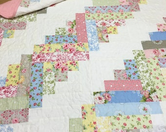 Baby Girl Quilt Log Cabin Scrappy Style OOAK Cottage Nursery Crib Bedding