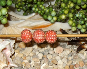 "3 veiled Coral Red Sea Urchin beads 1/2"" for jewelry creations handmade ceramic porcelain - by Earth N Elements Pottery"