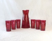 Cranberry Etched Water Pitcher Set with 6 Drinking Glasses, Vintage Ruby Red Glassware, Floral Pattern