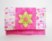 Pink and lime Foldover Clutch with Pockets and Kanzashi Flower