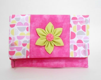 Pink and lime Foldover Clutch with Pockets and Kanzashi Flower, Pink and White Fold Over Clutch