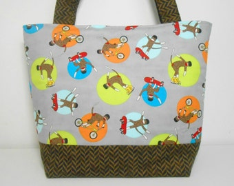 Sock Monkey Large Tote Bag, Sport Sock Monkey Gray Diaper Bag with Pockets, Large Fabric Tote Bag