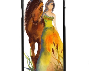 "Phone Case ""Walk With Me"" - Watercolour Giclee Art Print Horse Woman Rider Mare Foal County Side Ranch By Olga Cuttell"