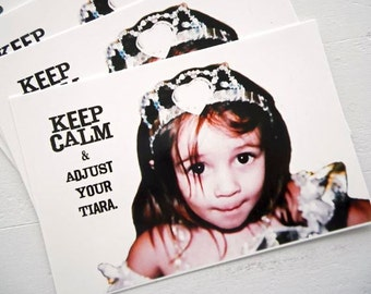 "Set of 4 Original Fine ART Postcards 4"" x 6"" KEEP CALM and Adjust Your Tiara by Emily Sytsma Princess Girlfriend"