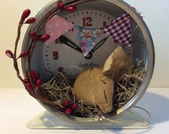 Primitive Sleepy Mouse in Upcycled, Vintage Alarm Clock