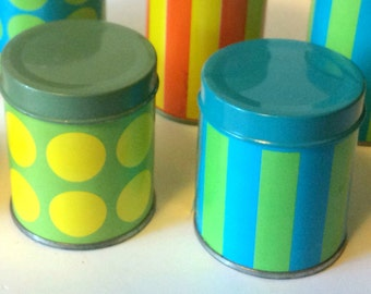 Pair of Counterpoint San Francisco SF mod vintage match tin canisters, circa 1970s deadstock