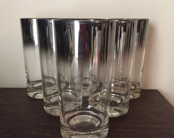 Dorothy Thorpe silver rimmed faded glassware set of 6