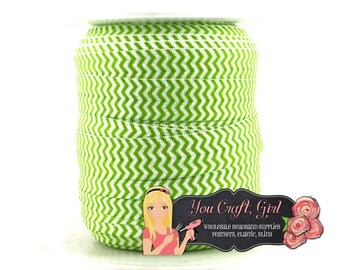 "Fold Over Elastic by the Yard - DIY Headband Elastic - Green Chevron Printed FOE - Elastic Trim - 5 8"" FOE Wholesale Elastic - Foe Hair Ties"