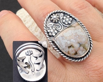 White Ocean Jasper Ring, Size 8 1/2 Sterling Silver, Flower Bouquet Ring, Artisan Metalsmith Leaf Band, Silversmith Large Stone Ring