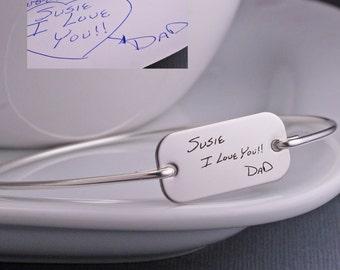 Handwriting Bracelet, Custom Signature Jewelry, Silver Personalized Engraved Gift, Writing Bangle Bracelet, Christmas Gift