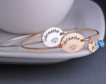 Yoga Jewelry, Breathe Bracelet,  Lotus Jewelry Gift, Yoga Teacher Gift, Yoga Lover Gift