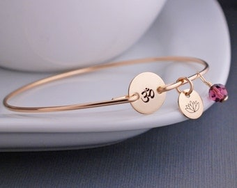 Om Bracelet, Yoga Jewelry, Personalized Om Jewelry, Gold Bangle Bracelet, Simple Yoga Jewelry