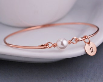 Rose Gold Bracelet, Personalized Pink Rose Gold Pearl Jewelry, Gold Bangle Bracelet,  Swarovski Pearl Bracelet, Bridesmaid Jewelry