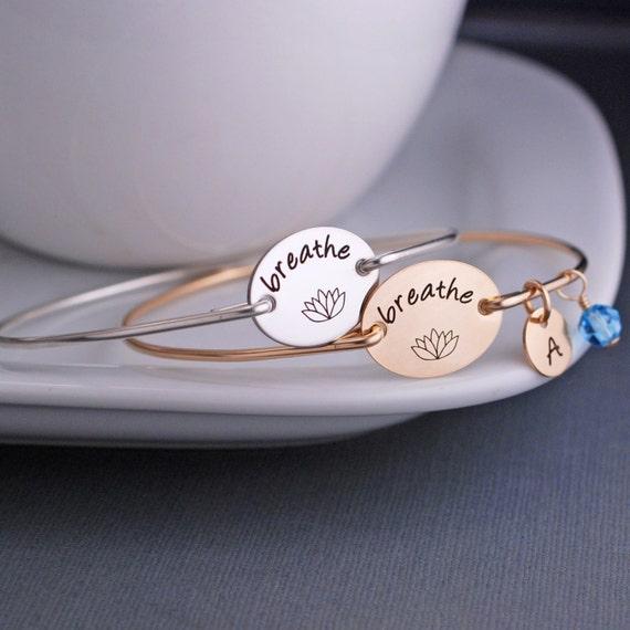 Yoga Jewelry, Breathe Bracelet,  Lotus Jewelry Gift, Yoga Teacher Gift, Yoga Lover Gift