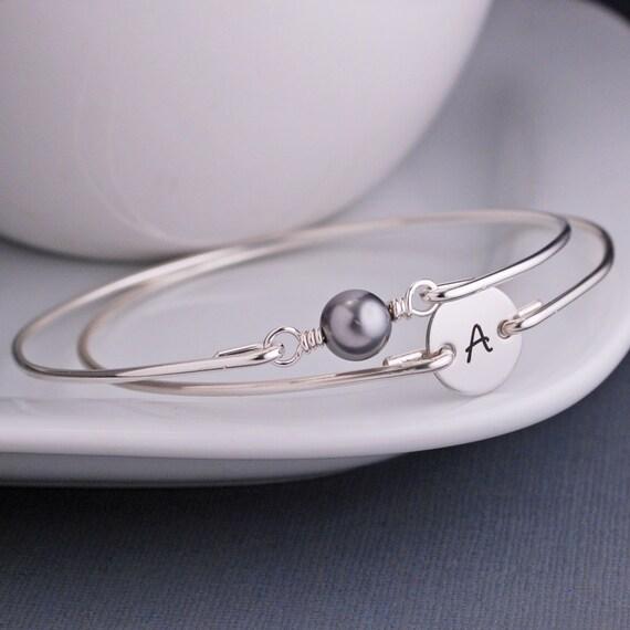 Initial Charm Bracelet and Grey Pearl Bracelet Set, Custom Sterling Silver Bangle Bracelet, Personalized Bracelet, Modern Bangle Bracelet