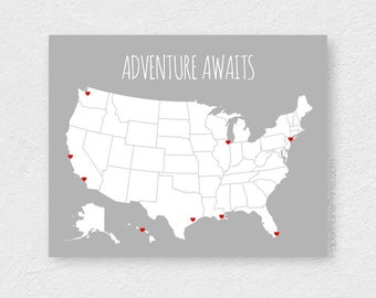 Personalized Map US Travel Map United States Pin Map