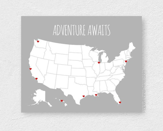 US Map Poster, Adventure Awaits, Places Traveled Road Trip Map, Interactive Travel Map, USA Vacation Map, Unites States Travel Print 16x20