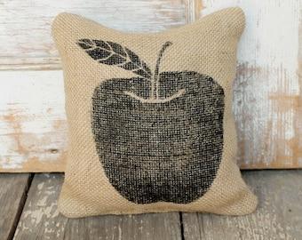 Apple  -  Burlap Feed Sack Doorstop - Apple Decor - Apple Decoration - Teacher Gift - Fall Decor - Autumn Decor  - Apple Silhouette