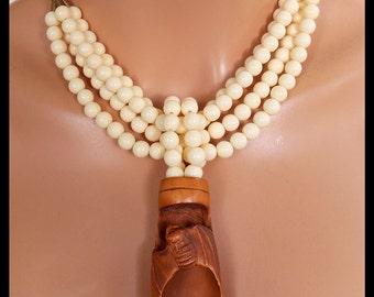OJIME CICADA - Handcarved Ojime Cicada on Bamboo - Multistrand Amber Statement Necklace