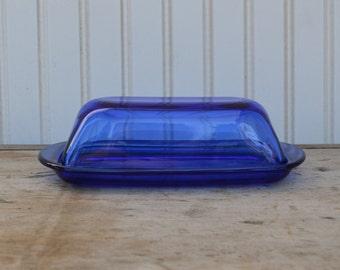 Cobalt Blue Butter Dish - Royal Hill Vintage