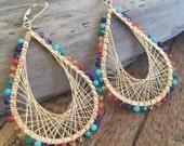 Multi gemstone and gold woven wire statement earrings. Chakra earrings.