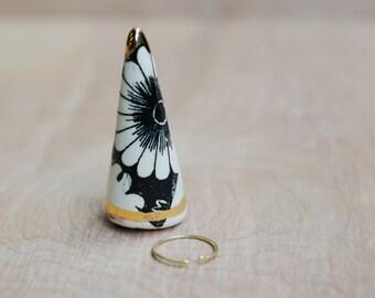 Ceramic Ring Cone - Ring Holder - Modern Ceramics - Gold White Black