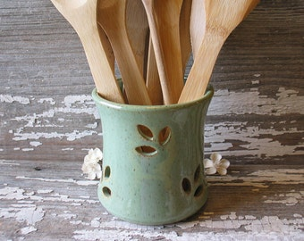 Small Green Pottery Utensil Pot - Apartment Sized Spoon Pot - Candle Holder - Toothbrush holder