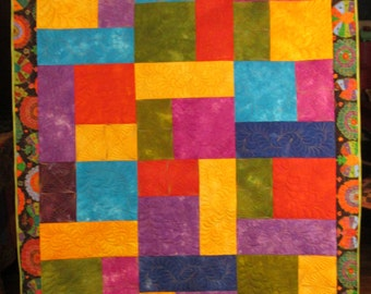 Art Quilt Abstract Wall Hanging Throw Bright Colors Hand Dyed Fabrics