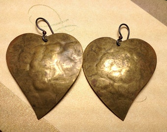 Huge Vintage Darkened Hammered Brass Heart Statement Earrings Steampunk Industrial Pierced Boho Chic