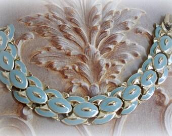 vintage enamel bracelet signed CORO silver tone links robins egg blue enamel foldover clasp marked coro
