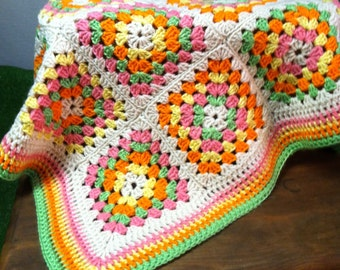 Bright colorful neon baby afghan
