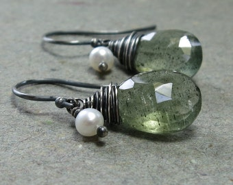 Moss Aquamarine Earrings White Pearl Earrings Oxidized Sterling Silver Earrings Gift for Her