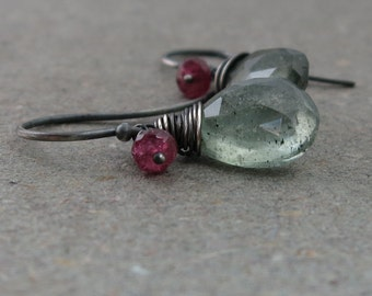 Moss Aquamarine Earrings Pink Tourmaline March Birthstone Oxidized Sterling Silver Earrings