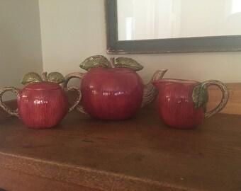 Vintage apple teapot, creamer & sugar