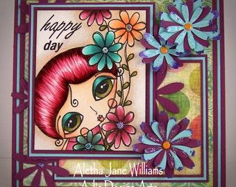 Happy Day Handmade Big Eye Art OOAK Art Greeting Card